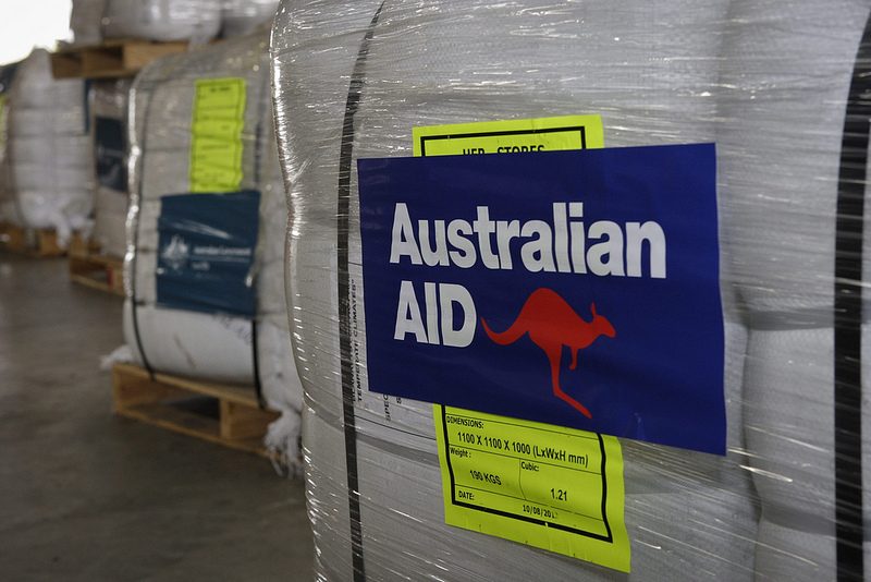 Pallets of AusAID emergency aid supplies. Source: DFAT's flickr photostream, used under a creative commons license.