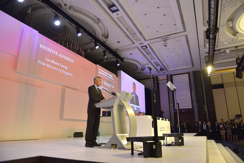 Singapore's Prime Minister Lee Hsien Loong makes opening remarks at the opening dinner of the Shangri-La Dialogue in Singapore, May 29, 2015. Source: Secretary of Defense's flickr photostream, U.S. Government Work.