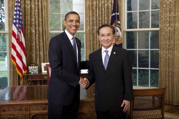 President Barack Obama welcomes then ambassador Don Pramudwinai of the Kingdom of Thailand to the United States in 2009. Source: State Department's flickr photostream, U.S. Government Work.