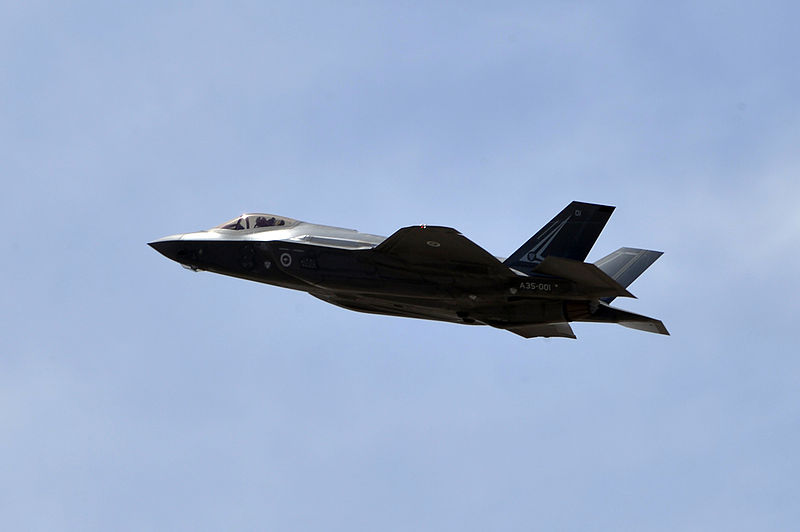 A Royal Australian Airforce F-35A in flight during Australia's first F-35A sortie on May 14, 2015. Source: Wikimedia, U.S. Government Work.