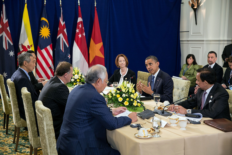 President Barack Obama attends a Trans-Pacific Partnership meeting in 2012. Source: White House's flickr photostream, U.S. Government Work.
