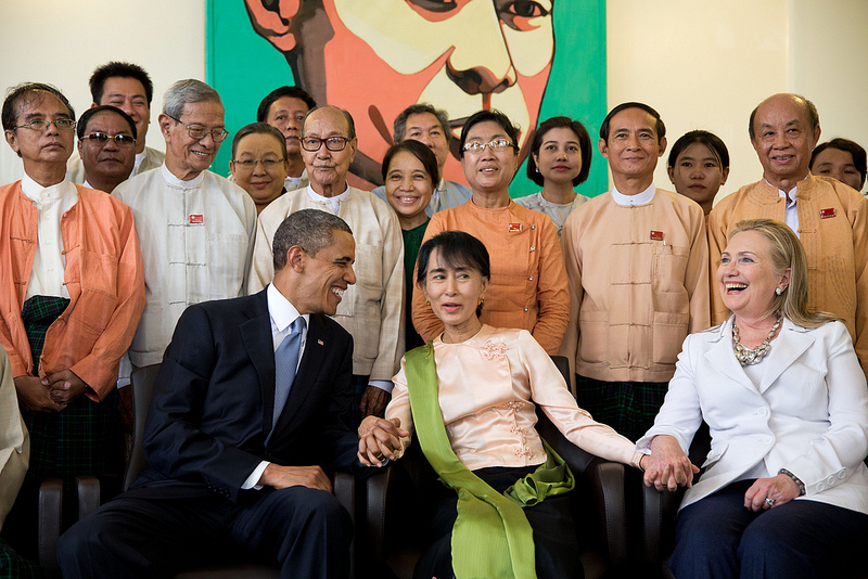 Myanmar's Aung San Suu Kyi with President Barack Obama and former secretary of state Hillary Clinton in Myanmar during November 2012. Source: The White House's flickr photostream, U.S. Government Work.